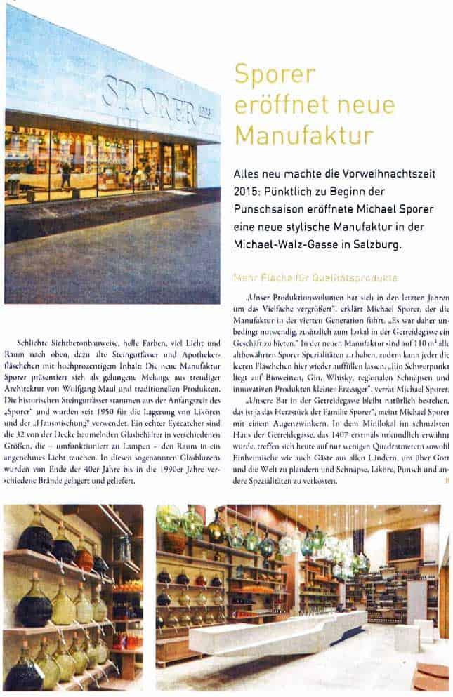Sporer eröffnet neue Punsch Manufaktur